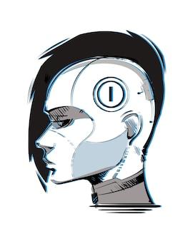 Cyberpunkmeisje met een mohawk in profiel