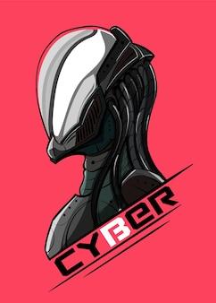 Cyberpunkportret in profiel in een glasmasker