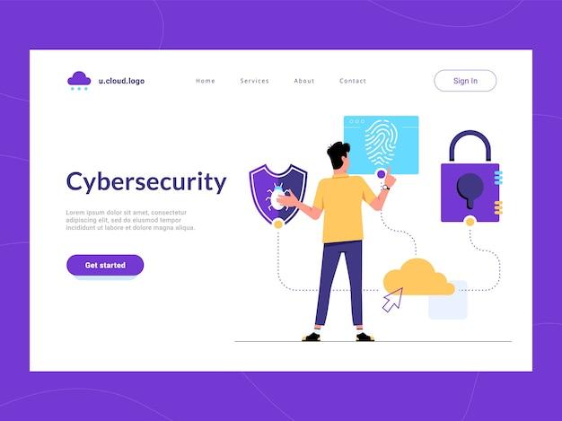 Cybersecurity bestemmingspagina eerste scherm. man op zoek naar malwarebescherming, gebruikersverificatie en informatiebeveiligingsoplossing voor bedrijven. risico's verminderen en cyberaanvallen verdedigen van gevoelige gegevens