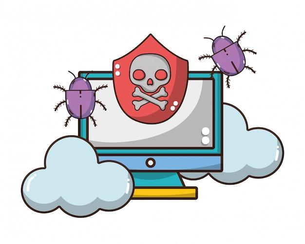 Cybersecurity dreigingscartoon