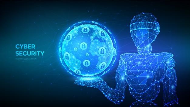 Cybersecurity en veilig concept. abstracte 3d laag veelhoekige robot met earth globe.