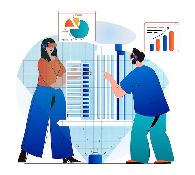 Cyberspace-concept in modern plat ontwerp man en vrouw die werken met grafieken voor bedrijfsstatistieken
