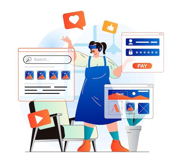 Cyberspace-concept in modern plat ontwerp vrouw die op internet werkt met vr-headset
