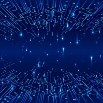Cyberspace. concept van een futuristische achtergrond. tracks op circuit en data-uitwisseling in de vorm van signalen