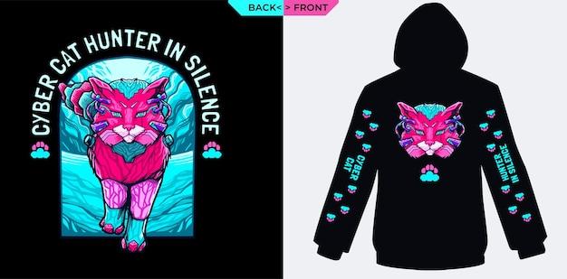 Cyberspace hunter cat in silence perfect voor zeefdruk van sweaterhoodies