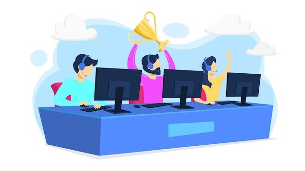 Cybersport-speler of gamer zit op computer pc