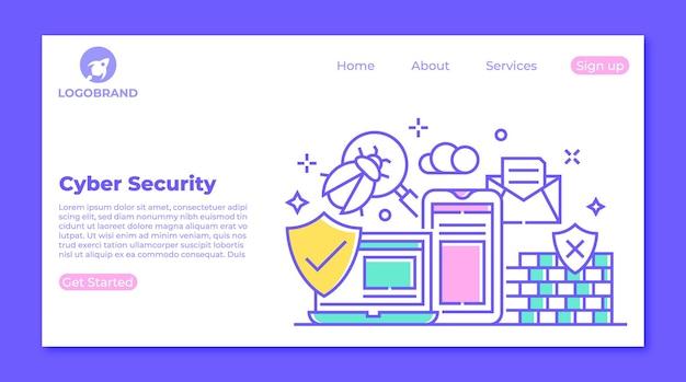 Cyberveiligheid en virussen bescherming bestemmingspagina concept