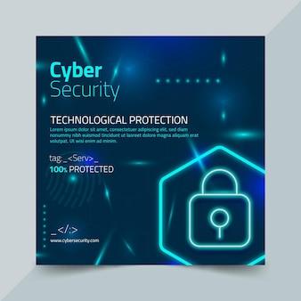 Cyberveiligheid kwadraat flyer-sjabloon