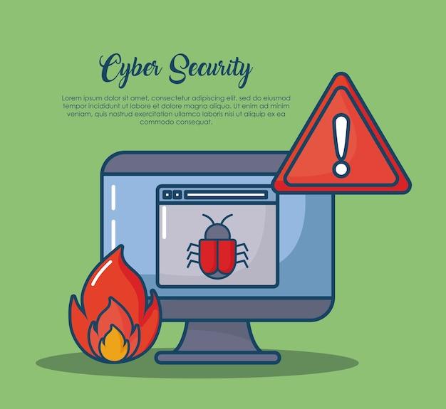 Cyberveiligheid met computer en verwante pictogrammen over groene achtergrond