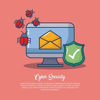Cyberveiligheid met computer met envelop en verwant pictogram over rode achtergrond