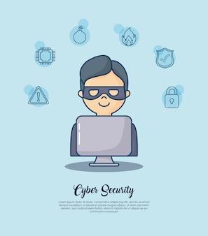 Cyberveiligheid met het pictogram van de hakkermens over blauwe achtergrond