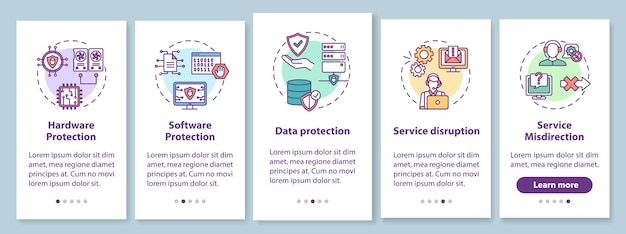 Cyberveiligheid onboarding mobiele app-paginascherm met concepten