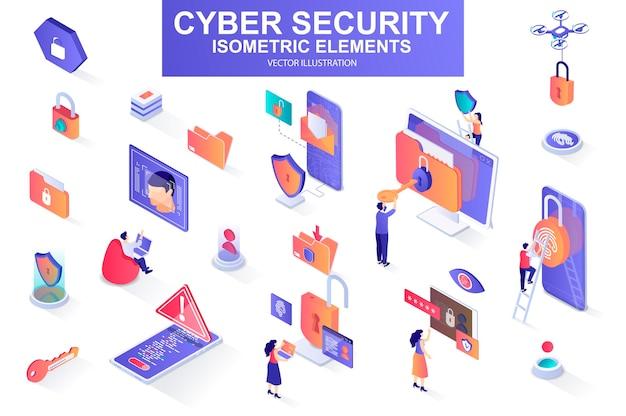 Cyberveiligheidsbundel van isometrische elementenillustratie