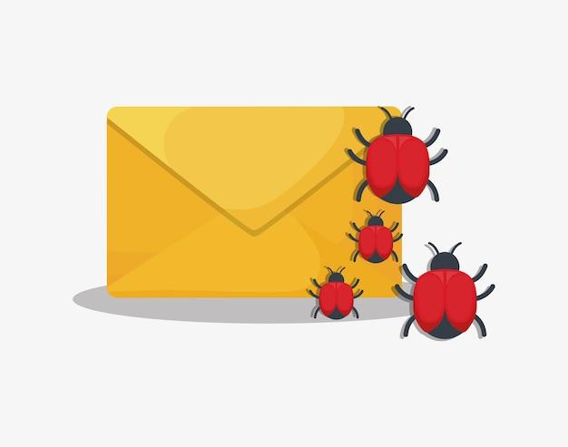 Cyberveiligheidsontwerp met envelop met virusbugs