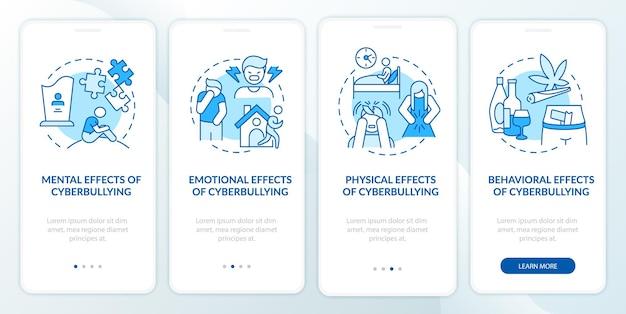 Cybervernedering resultaten onboarding mobiele app paginascherm met concepten