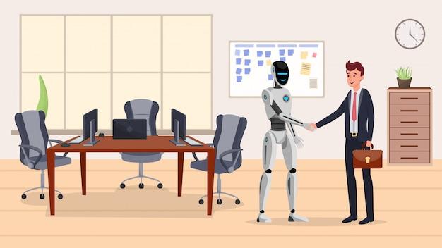 Cyborg en zakenman plat