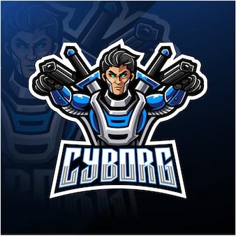 Cyborg esport mascotte logo ontwerp