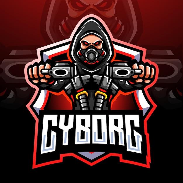 Cyborg kanonniers mascotte. Premium Vector