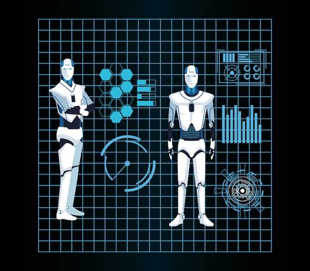 Cyborg-machines met kunstmatige intelligentie werken futuristisch
