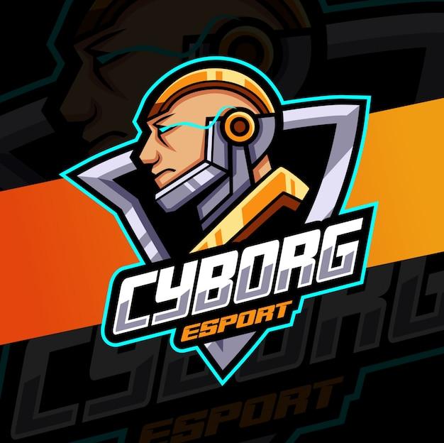 Cyborg man mascotte esport logo ontwerp