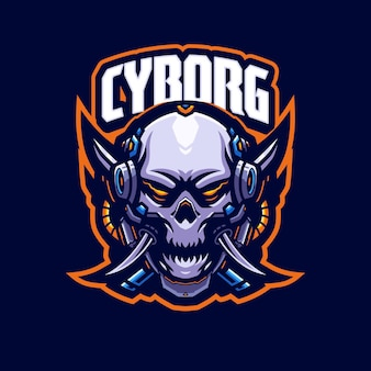 Cyborg mascotte logo sjabloon