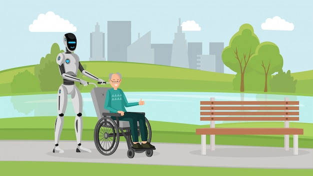 Cyborg met oude man buiten