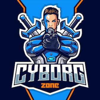 Cyborg met pistool mascotte esport logo ontwerp
