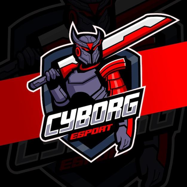 Cyborg robot ridder mascotte met zwaard esport logo