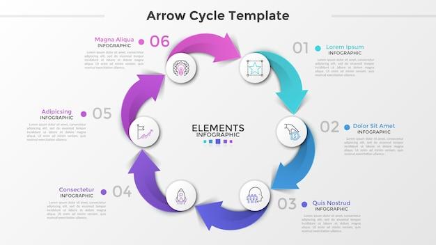 Cyclische grafiek met 6 papieren witte cirkels, dunne lijnpictogrammen, cijfers en tekstvakken verbonden door kleurrijke pijlen. concept van het productieproces van de productiecyclus. infographic ontwerpsjabloon. vector illustratie.