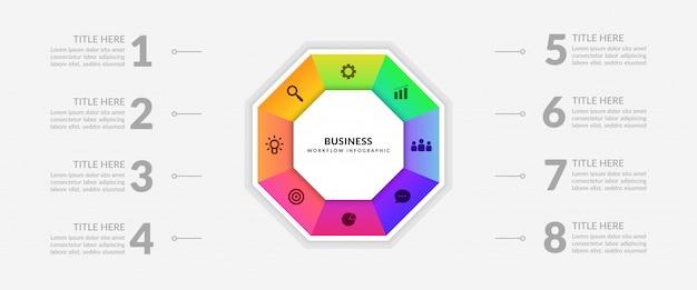 Cyclus bedrijfsproces infographic met meerdere opties