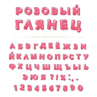 Cyrillisch glanzend roze lettertype.