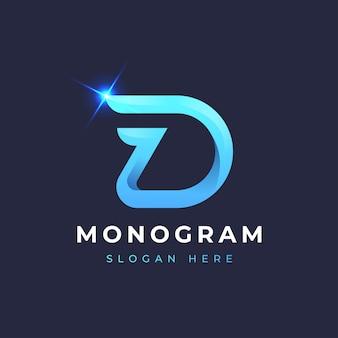 D blauw monogram logo-ontwerp