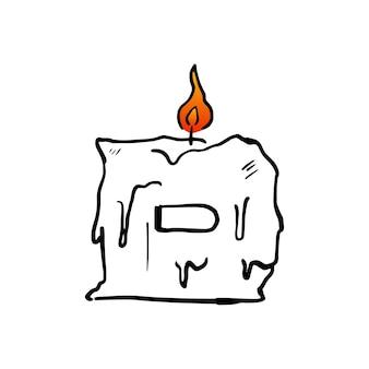 D brief kaars verjaardagsfeestje hoofdletters markeren vuur licht logo vector pictogram illustratie