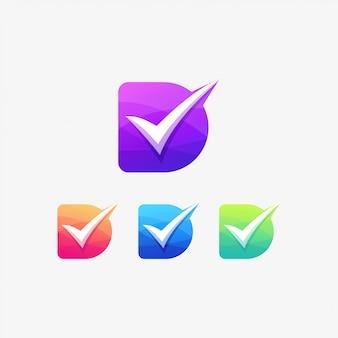 D checklist logo letter correct