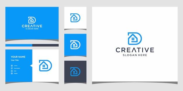 D home logo-ontwerp met sjabloon voor visitekaartjes