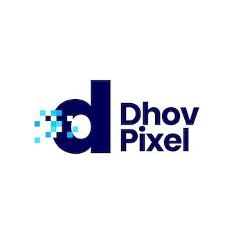 D letter kleine pixel markeren digitale 8 bit logo vector pictogram illustratie