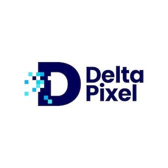 D letter pixel mark digitale 8 bit logo vector pictogram illustratie