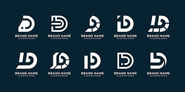 D-logocollectie met creatief concept premium vector