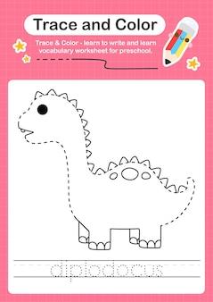 D overtrekwoord voor dinosaurussen en kleurwerkblad met het woord diplodocus