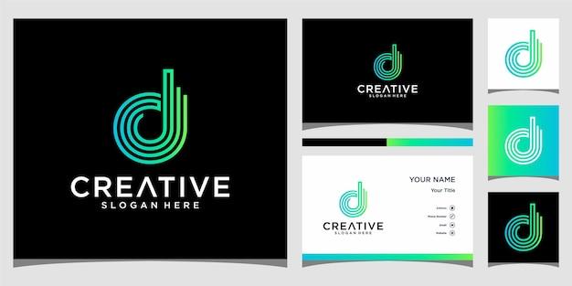 D technologie logo-ontwerp met visitekaartje