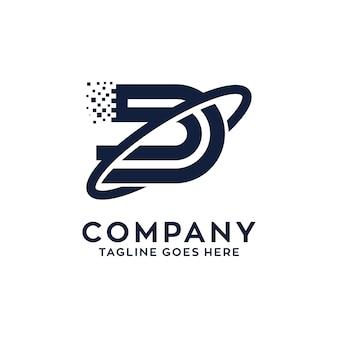 D technologie logo ontwerp