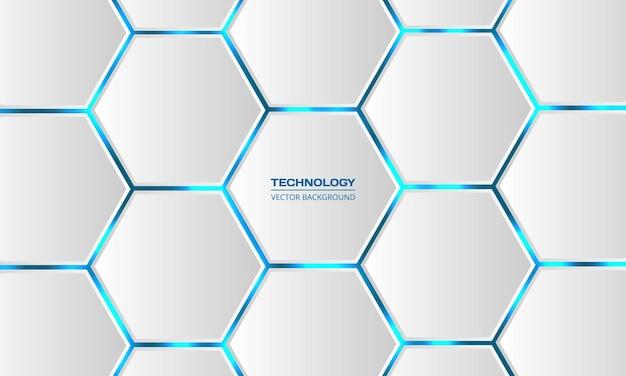 D zeshoekige technologie abstracte witte achtergrond