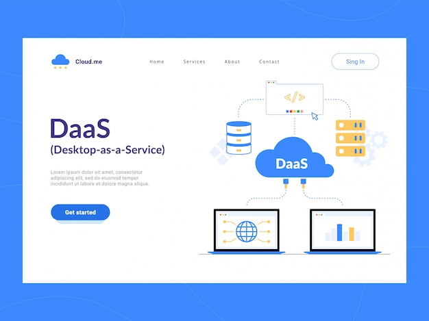 Daas: desktop as a service bestemmingspagina eerste scherm. virtual desktop of desktop virtualization cloud computing-schema. optimalisatie van bedrijfsprocessen voor startups, kleine bedrijven en ondernemingen.