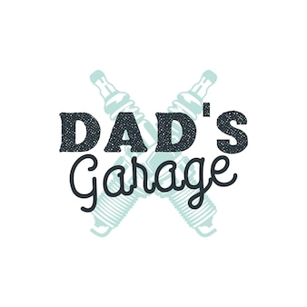 Dad garage logo badge met plug vonken. embleem geïsoleerd.