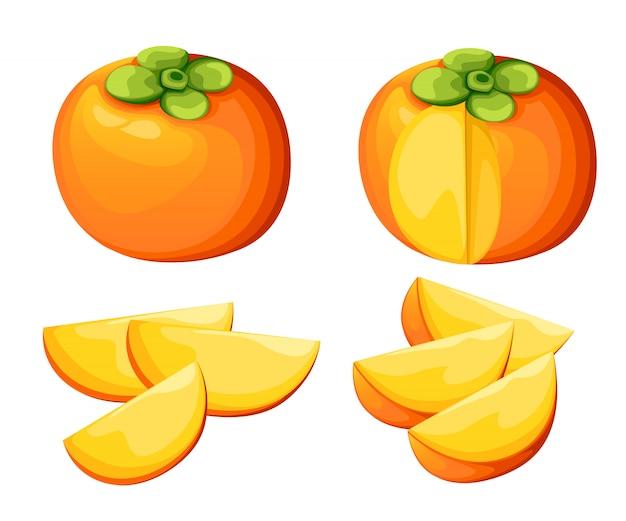 Dadelpruim met hele bladeren en plakjes kaki. illustratie van persimmon. illustratie voor decoratieve poster, embleem natuurlijk product, boerenmarkt. website-pagina en mobiele app