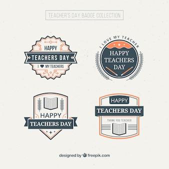 Dag decoratief leraar badges in vintage stijl