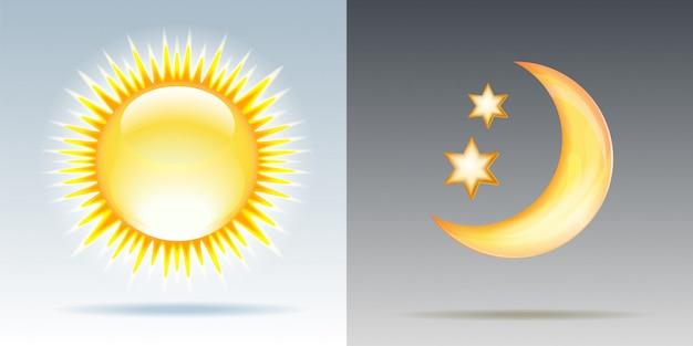 Dag en nacht illustraties met zon en maan.