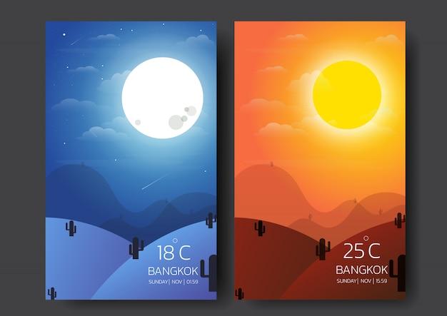 Dag en nacht natuurlandschap.