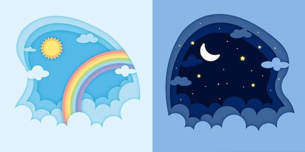 Dag en nacht papier gesneden