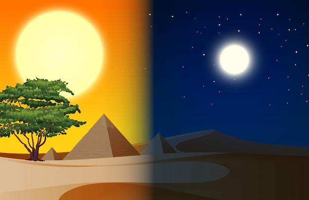 Dag en nacht piramide woestijn scène